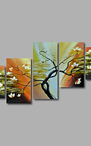 håndmalede olie maleri på lærred væg kunst landskab træer flowes abstrakt fem panel klar til at hænge