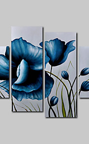 Hand-Painted Oil Painting on Canvas Wall Art Modern Flowers Blue Roses Three Panel Ready to Hang