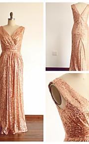 Formeller Abend Kleid - Champagner Mit Paillette - Etui-Linie - bodenlang - V-Ausschnitt