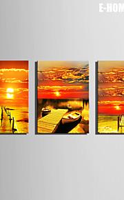 Landskap Canvastryck Tre paneler Redo att hänga , Vertikal
