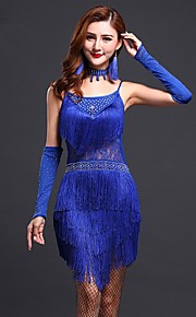 Latin Dance Dresses Women's Performance / Training Milk Fiber Tassel(s) 1 Piece Blue / Fuchsia / Red