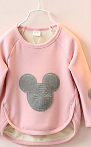 Girl's Solid All-Match Plus Velvet  Tee , Cartoon Others Winter / Fall