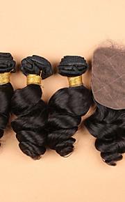 SLOVE 7а Малайзии свободно расширение волны волосы шелк база закрытия девственной человеческого волоса 3 расслоения с шелковой базовой