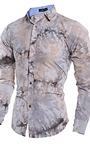 Men's Long Sleeve Shirt , Cotton / Polyester Casual / Work Print / Pure 3D Tie-dyed