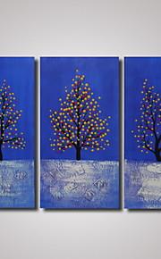 3 paneles moderno paisaje abstracto pintura al óleo sobre lienzo colorido árbol listas para colgar