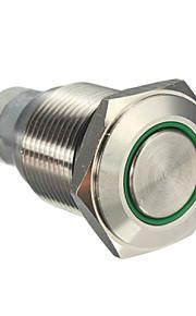10stk 16 mm med lås knappen skifter automatisk førte rød blå grøn lys sølv aluminium afbryderknappen afbryderen 12 v