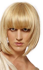 Элегантный короткий прямой шапки человек девственный Реми руки связали-топ волос парики