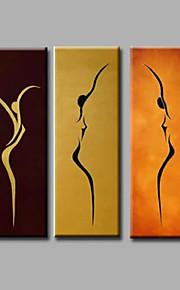 ホームキャンバス壁アートモダンダンスの女の子デコ抽象的な3つのパネルの上に手描きの油絵をハングアップする準備ができて