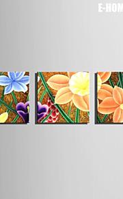 Botanisk Lerret Print Tre Paneler Klar til å henge , Kvadrat