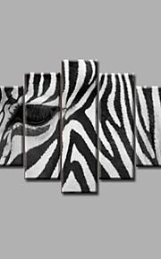 estirada pintura al óleo pintada a mano enmarcada en lienzo de pared moderno del extracto de la cebra blanco negro deco cinco paneles