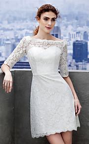 robe de mariage gaine lanting / colonne - court / mini dentelle ivoire bateau
