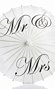 Mr & Mrs Painted Wedding Paper Parasol
