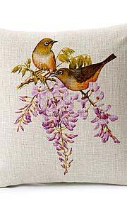 Country Birds Pattern Cotton/Linen Decorative Pillow Cover