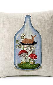 Deer in Bottle Cotton/Linen Decorative Pillow Cover