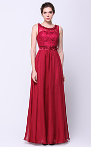TS Couture® Formal Evening Dress A-line Scoop Floor-length Chiffon / Lace with Flower(s) / Lace