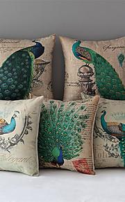 Set of 5 Peacock Pattern Cotton/Linen Decorative Pillow Cover