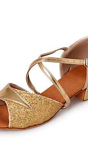 Zapatos de baile ( Plata / Oro ) - Danza latina / Dance Sneakers / Salsa / Flamenco / Samba - Personalizados - Tacón grueso