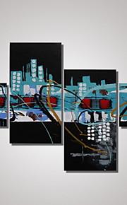 4 paneles de arte contemporáneo enmarcado pinturas abstractas de la lona para la decoración de las paredes listas para colgar