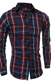 Men's Long Sleeve Shirt , Cotton / Polyester Casual / Work / Sport Plaids & Checks