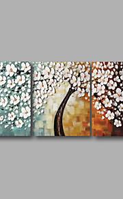 손으로 그린 추상적인 / 플로랄/보타니칼 유화,우아한 3판넬 캔버스 항으로 그린 유화 For 홈 장식
