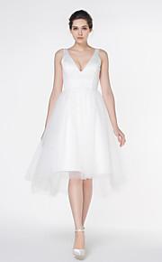 robe de mariée une ligne - - de lanting ivoire asymétrique v-cou satin / tulle