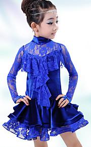 Latin Dance Dresses Children's Performance Spandex Lace 1 Piece Latin Dance Long Sleeve Dropped Dress