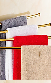 Gold-Plated Solid Brass 4 Bars Rotatable Bathroom Towel Rack
