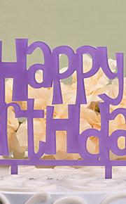 Purple Cake Topper Happy Birthday