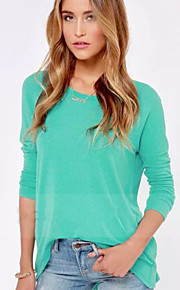 Women's Solid Blue Blouse , Round Neck Long Sleeve