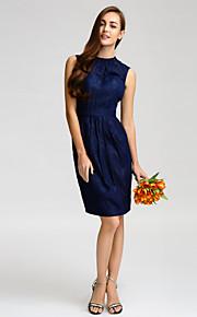 Lan TingKnee-length Satin Bridesmaid Dress - Dark Navy Sheath/Column Jewel