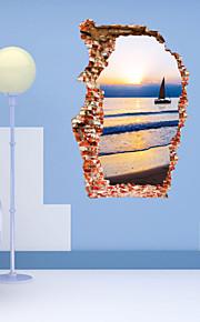 aw3023 Removable 3D Broken Wall Scenery Wall Sticker Home Decor Vinyl Decals Mural Art Adesivo de Paredes