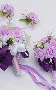 Wedding Bride Bouquet Round Roses Lily Piece Flower Set 4 Suit(More Colors)