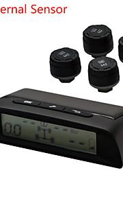 dearroad DIY TPMS solenergi dæktryk overvågningssystem lcd trådløst display 4 eksterne / interne sensorer gauge