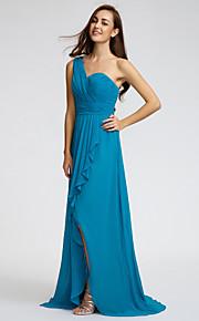 Lan TingSweep/Brush Train Chiffon Bridesmaid Dress - Jade Sheath/Column One Shoulder