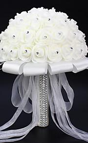 Свадебные цветы Круглый Розы Букеты Свадьба Партия / Вечерняя Атлас Эластичный атлас Стразы Около 20 см