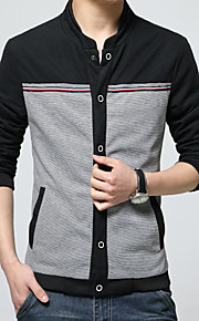 男性用 プレイン カジュアル ジャケット,長袖,コットン,ブラック / ブルー / イエロー