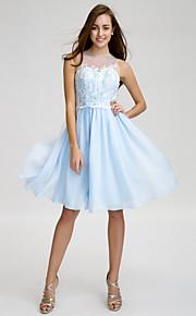 Lan TingKnee-length Chiffon / Tulle Bridesmaid Dress - Sky Blue A-line Jewel
