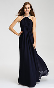 Lan TingFloor-length Chiffon Bridesmaid Dress - Dark Navy Sheath/Column Halter