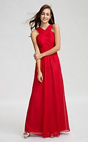 Lan TingFloor-length Chiffon Bridesmaid Dress - Burgundy Sheath/Column V-neck