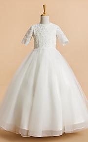 Lanting Bride A-vonalú Tea-hossz Virágoslány ruha - Tüll Rövidujjú Ékszer val vel Csipke