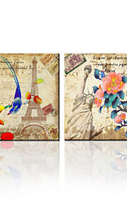VISUAL STAR®Two Panels Flowers Canvas Artwork Eiffel Tower Statue of Liberty Picture Art Prints for Living Room Decor