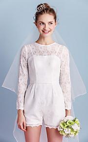 Lanting robe de mariée gaine / colonne - mini court dentelle ivoire / bijou