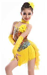 Latin Dance Dresses Children's Performance Spandex Sequined Milk Fiber Tassel(s) 4 Pieces Gloves Dress NeckwearS:63 M:65 L:67 XL:70