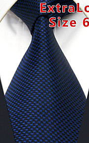 Men's Tie Navy Blue Solid 100% Silk Business  Dress Casual Long