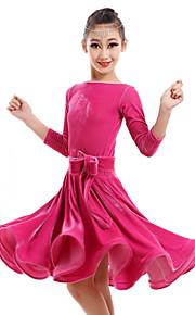 Latin Dance Dresses Children's Performance Velvet Flower(s) 1 Piece Dress S:74 M:78 L:82 XL:86 XXL:90 XXXL:94