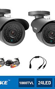 annke® 2 stk 900tvl 42pcs førte op til 110 ft nattesyn høj opløsning CCTV sikkerhedskameraer (sort)