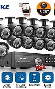 annke® 16ch 1080p dvr cctv outdoor ir home security camera-systeem met 2 TB harde schijf