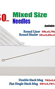 BaseKey 50Pcs Disposable Sterile Tattoo Needles Mixed (RS:3,5,7 RL:5,7,9 M1:5,7  M2:7,9)x5