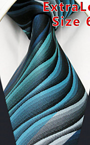 Men's Tie  Green Ripple 100% Silk Business  Fashion Casual Long