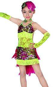 Latin Dance Outfits Children's Performance Lace / Feathers Tassel(s) 5 Pieces Blue / Green Latin DanceSleeves / Dress / Neckwear /